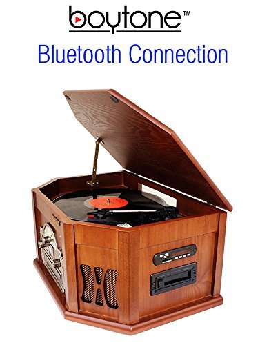 Boytone BT-25MB 8-in-1 Natural Wood Classic Turntable Stereo System with Bluetooth Connection, Vinyl Record Player, AM/FM, CD, Cassette, USB, SD Slot. 2 Built-in Speakers, Remote Control, MP3 Player