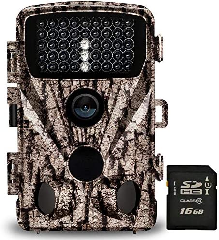 Foxelli Trail Camera 20MP 1080P HD Wildlife Scouting Hunting Camera with Motion Activated Night Vision, 120 Wide Angle Lens, 42 IR LEDs 2.4 LCD screen, IP66 Waterproof Game Camera, SD card incl.