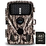 Foxelli Trail Camera - 20MP 1080P HD Wildlife Scouting Hunting Camera with Motion Activated Night Vision, 120° Wide Angle Lens, 42 IR LEDs & 2.4' LCD screen, IP66 Waterproof Game Camera, SD card incl.