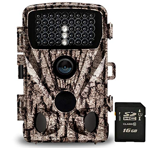 """Foxelli Trail Camera - 20MP 1080P HD Wildlife Scouting Hunting Camera with Motion Activated Night Vision, 120° Wide Angle Lens, 42 IR LEDs & 2.4"""" LCD screen, IP66 Waterproof Game Camera, SD card incl."""
