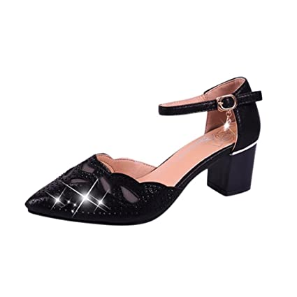 37f193d419c Women Ladies Pearl Sandal Casual Square Heel Buckle Strap Fashion Loafer  Pumps (Black