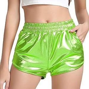 Perfashion Women's Metallic Shiny Shorts Sparkly Hot Yoga Outfit
