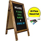 Large Sturdy Handcrafted 40'' x 20'' Wooden A-Frame Chalkboard Display / 4 LIQUID CHALK MARKERS & STENCIL SET / Sidewalk Chalkboard Sign Sandwich Board / Chalk Board Standing Sign (Rustic)