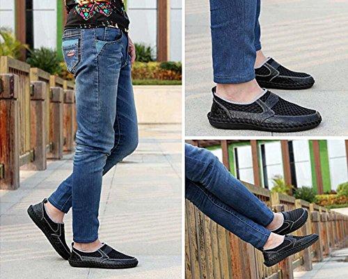 Bomba Ponerse Mocasín Hilado de red Malla Sandalias Casual Zapatos Hombres Respirable Hueco Patrón de cocodrilo Pedal Zapatos Zapatilla Conducción Zapatos Zapatos perezosos Tamaño de la UE 38-46 Black