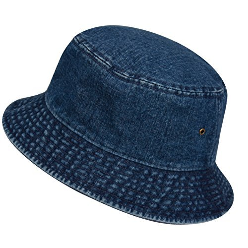 Casual Denim Jean Summer Bucket Hat, 100% Cotton Packable Sun Protection, Unisex (S/M, DENIM DK BLUE)