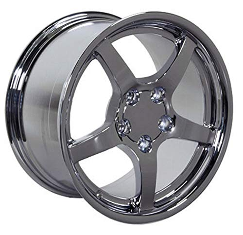 Partsynergy Replacement For Chrome Wheel Rim 18 Inch Fits 2005-2013 Chevrolet Corvette (Front) 5-120.65mm 5 Spokes Chrome 18x9.5
