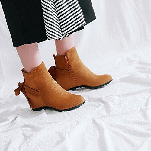 tamaño yellow Botas DEDE Gran Botas de de Medio Bajas de Ocasionales tacón Tubo y Botas Sandalette Mujer de T1O7U7q