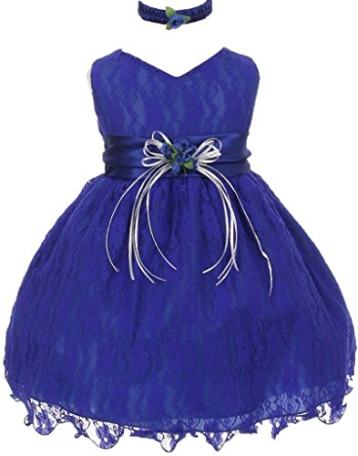 Infant & Baby Flower Girl Lace Overlay Special Occasion Dress Royal 3T 30.26