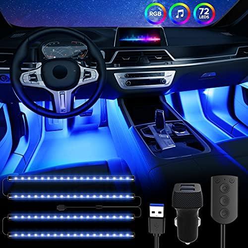 SEALIGHT RGB Interior Car Lights, 4pcs 72 LED Strip Lights with USB Port and Control Box, 12 Scene Modes, Music Sync, 2 Lines Design, Nano Adhesive, Car Charger DC 5V
