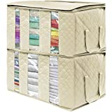 Sorbus Foldable Storage Bag Organizers, 3 Sections, Great for Clothes, Blankets, Closets, Bedrooms, and More, 2-Pack (Beige)