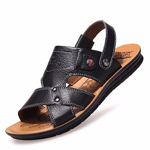 estate Il nuovo vera pelle sandali Uomini Tempo libero scarpa vera pelle Spiaggia scarpa Uomini sandali Antiscivolo ,nero,US=7,UK=6.5,EU=40,CN=40