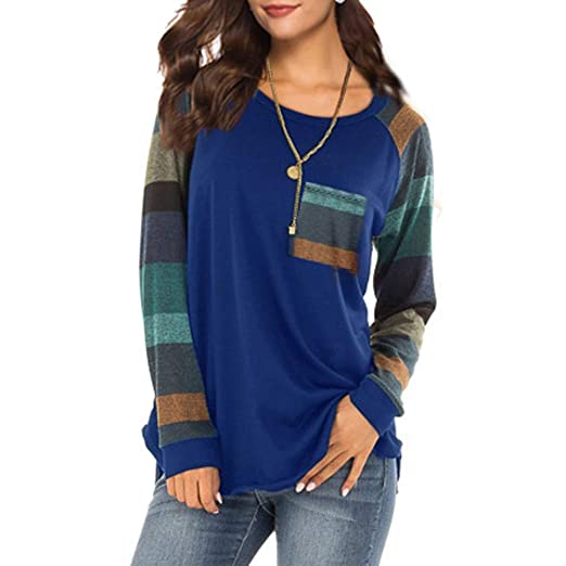 a312241d74d Womens Long Sleeve Button Decor Color Block Patchwork and Striped Tops  Blouses Casual T Shirts Sweaters