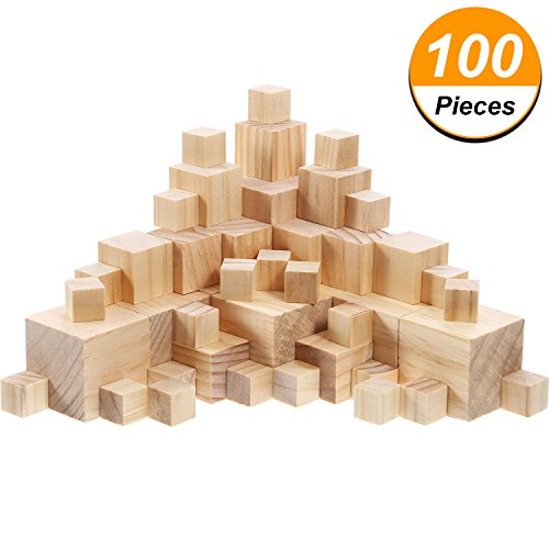 Hicarer 100 Pieces Unfinished Wooden Cubes Solid Natural Wooden Square Blocks for Baby Puzzle Making, Craft and DIY Project, 3 Sizes Mixed -