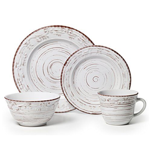 - Pfaltzgraff 5217179 Trellis White 16-Piece Dinnerware Set, Service for 4