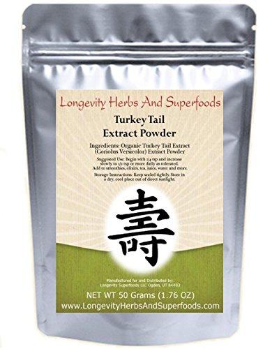 Turkey Tail Extract Powder 10:1 (50 Grams 1.76 Oz) Organic Coriolus Versicolor Bulk (100 Servings)