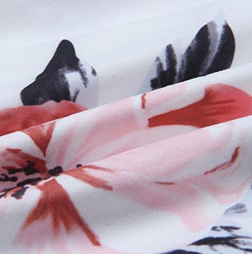 Collare V Bianca Signora Stile Moda Manica Maglie Unico A Oufour Elegante Fiore Camicetta Party Bluse T Sexy Chiffon Tunica Stampato Top Comodo shirt Donna Maglietta Lunga wqXExtx