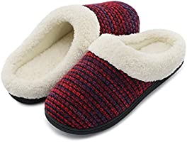 HomeTop Women's Cozy Memory Foam Yarn Knit Slippers Plush Lining Anti-slip House Shoes for Indoor & Outdoor Use