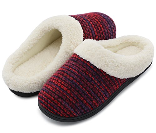 Women's Cozy Memory Foam Yarn Knit Slippers Plush Lining Anti-Slip House Shoes For Indoor & Outdoor Use