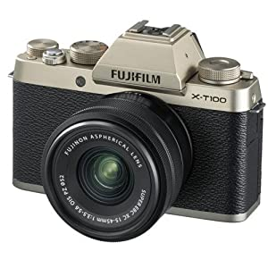 Fujifilm X-T100 w/XC15-45mm Kit Champagne Gold Mirrorless Digital Camera with 3.0