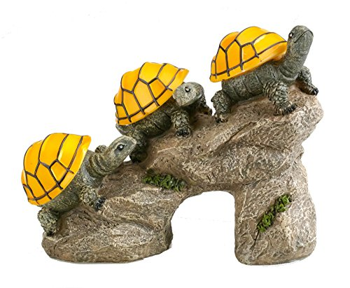 (Solar Powered Turtles on Log Outdoor Accent Lighting LED Garden Light Decor)