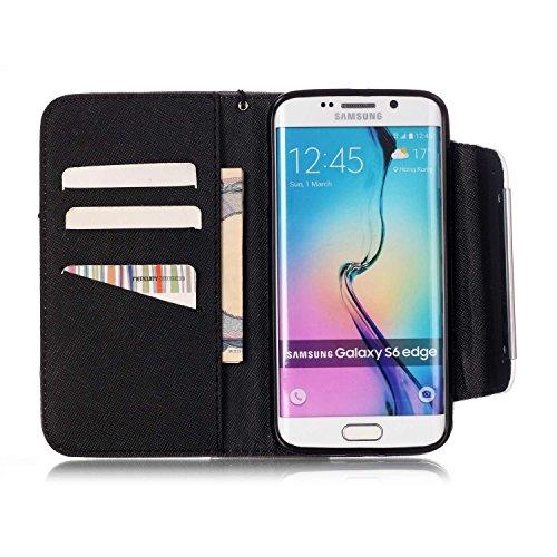 Samsung Galaxy S6 Edge Funda Libro PU Leather Cuero - Sunroyal Cover Carcasa Con Cobertura Completo Flip Case Caja del Teléfono ,Cierre Magnético,Función de Soporte,Billetera con Tapa para Tarjetas+ A A-10