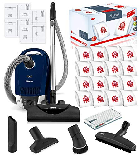 Miele Compact C2 Electro+ Canister HEPA Canister Vacuum Cleaner with SEB 228 Powerhead Bundle - Includes Miele Performance Pack 16 Type FJM AirClean Genuine FilterBags + Genuine AH50 HEPA Filter