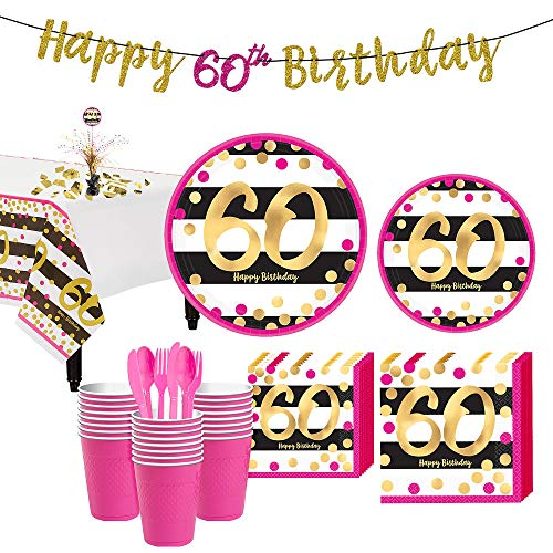 Party City Pink and Gold 60th Birthday Party Supplies for 32 Guests, Include Plates, Napkins, Utensils, and Decorations