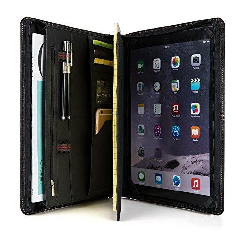 Genuine Leather Business Portfolio Professional Organizer Letter Size A4 Document Folder Notepad Padfolio Case for Men & Women, with Zipperd Closure, for iPad Mini ()