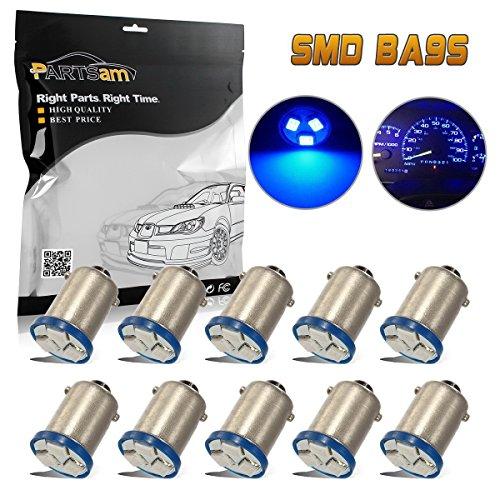 Partsam 10pcs BA9s LED Bulb Blue 3-SMD Car Light Kit for Instrument Panel Gauge Cluster 1815 1895 57 53 Lamps for 1973 Chevrolet by Partsam