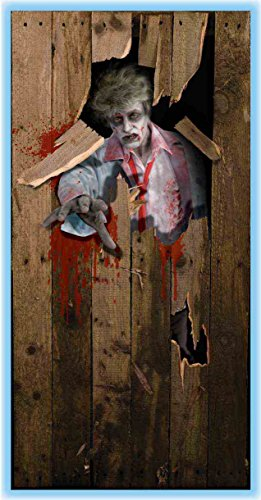 Scary Halloween Decoration Zombie Giant Poster Door Cover 2-pack (Large Image)
