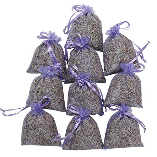 15 Bags Of Dried Lavender In Small Lilac Organza Bags, Pure Dried Loose Lavender Bud, For Closets, Drawers, Wardrobes Real Flower Wedding Mother's Day (LAV lavender) ()