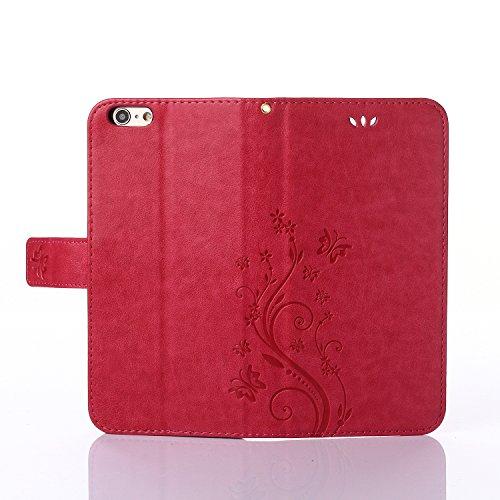 ZeWoo Folio Ledertasche - R155 / Schmetterling und Blume (rot) - für Apple iPhone 6 (4,7 Zoll) PU Leder Tasche Brieftasche Case Cover
