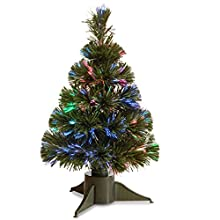 National Tree 18 Inch Fiber Optic Ice Tree in Green Stand with Multicolor Battery Operated LED Lights with Timer (SZI7-172-18B-1)