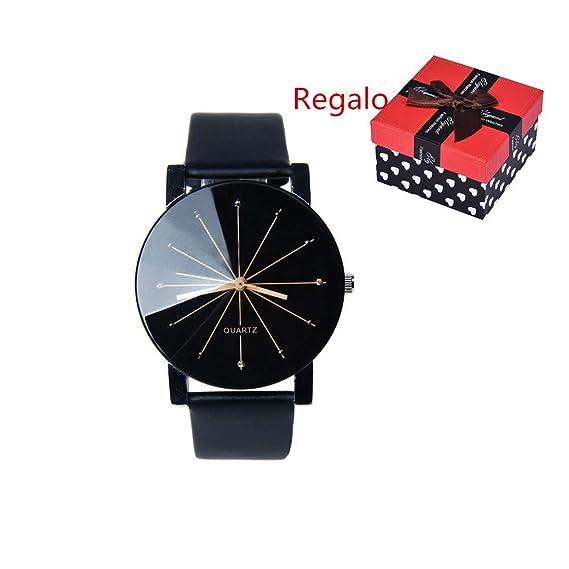 WINWINTOM Hombres Redondo Caso Reloj Cuarzo Marcar Reloj Cuero Muñeca Relojes: Amazon.es: Relojes
