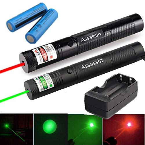 Hasy How Red and Green 303 Penlight High Power 2 in 1 L-a-s-e-r Pointer Flashlight with 2 x Battery and 1 x Dual Charger