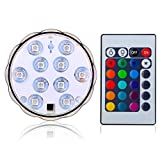 Kitosun 3aaa Battery Operated Mulitcolors RGB Submersible Waterproof LED Light Base with Remote Controller for Wedding, Party, Events,Holidays, Xmas, Home Decor (set of 1light+1remote)