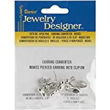 Darice Earring Converter Pierced to Clip, Nickel, 4-Pack