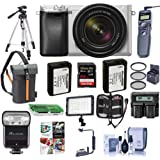 Sony Alpha A6300 Mirrorless Camera Silver with 18-135mm f/3.5-6.3 OSS Zoom Lens - Bundle with 64GB SDxC Card, TTL R2 Flash, 2x Spare Battery, Tripod, Remote Shutter Release, Video Light, and More