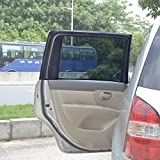TFY Universal Car Rear Side-Door Square-Window Sunshades - Double Layer Design (Large Window) 31.5'' - 47'' W x 23'' H