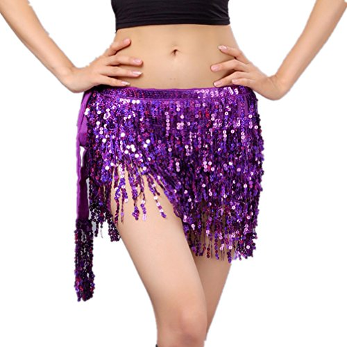 Indian Dance Team Costumes (Demon Baby Performance Shimmy Women's Belly Dance Hip Scarf With Four Rows Of Sequins Fringe Hula-Hula Modern Dance Skirt(Purple))