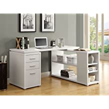 Monarch Specialties I 7023 Hollow-Core Left or Right Facing Corner Desk, 60 x 47 x 30-Inch, White