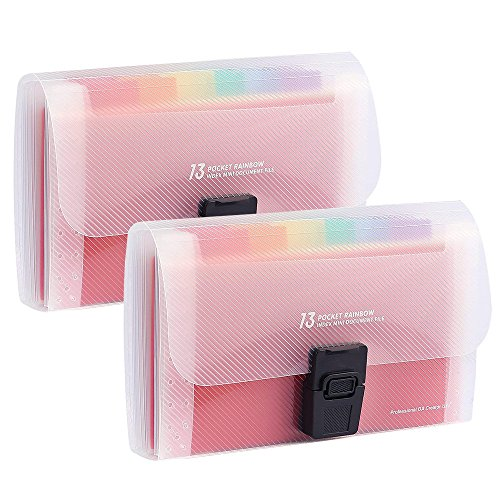 Toosunny 2 Pack Portable Rainbow Document Folder, 13 Pockets A6 Expanding File Organiser Handbag with Lid, Plastic Expandable Accordian Organizer Wallet for Receipts, Bills, Checks, Vouchers, (2 Pocket Document Wallet)
