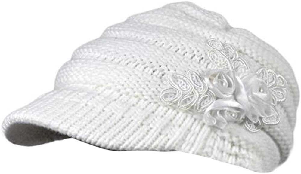 Beret Cap Kimloog Womens Winter Warm Floral Knitted Ribbed Visor Beanie Hat