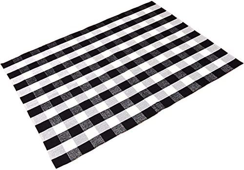 Levinis Cotton Washable Rugs Black and White Plaid Rug