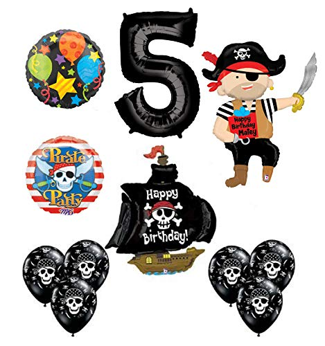 Mayflower Products Pirate 5th Birthday Party Supplies Balloon Bouquet Decorations -