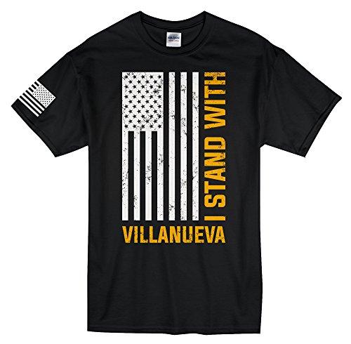 'I Stand With Villanueva' American Flag Men's T-Shirt (Small, Black)