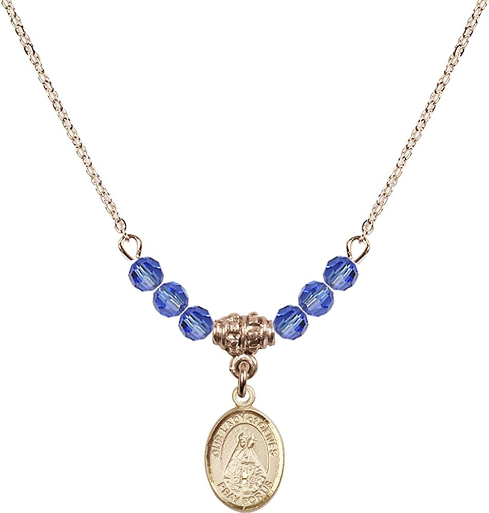 18-Inch Hamilton Gold Plated Necklace with 4mm Sapphire Birthstone Beads and Gold Filled Our Lady of Olives Charm.