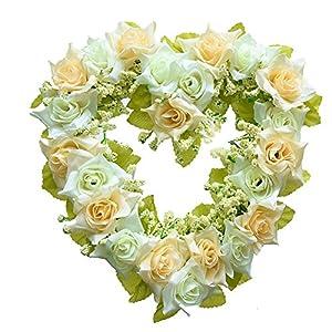 GUFIKY Simulation Rose Flowers Wreath Vintage Art Pink Heart-shaped Garland for Home Wedding Decoration 48