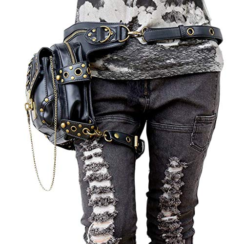 Lia Estilo Estilo Mujer Bolso única Talla para negro Negro Vintage Steampunk Bandolera Shu dxqaAnXBdT