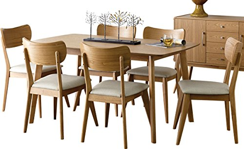 Amboy 7 Piece Danish Mid Century 60 inch Dining Set in Light Ash - Table & 6 Chairs